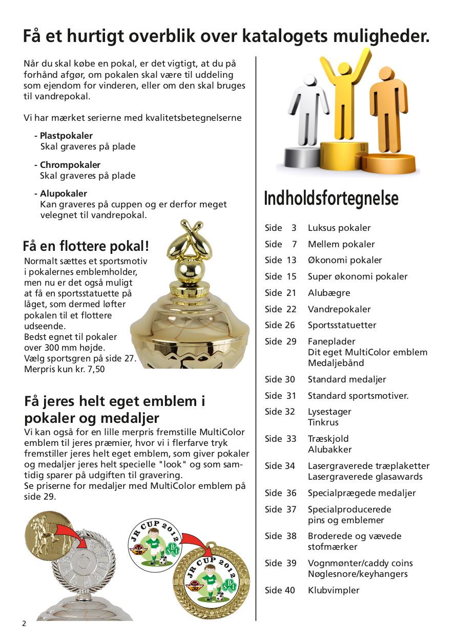 Side 2 af 40 - Indholdsfortegnelse over pokaler og medaljer