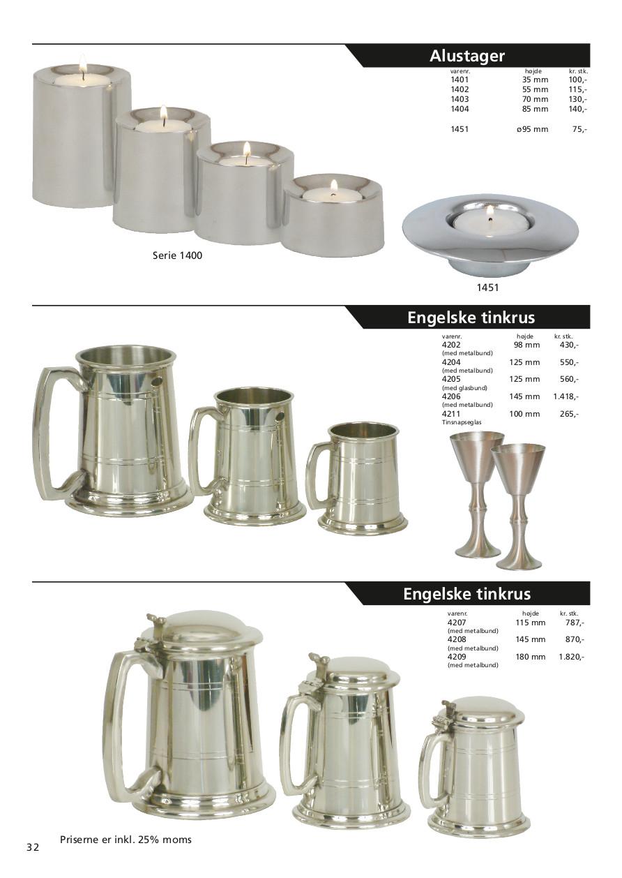 Side 32 af 40 - Lysestager, tinkrus og snapseglas